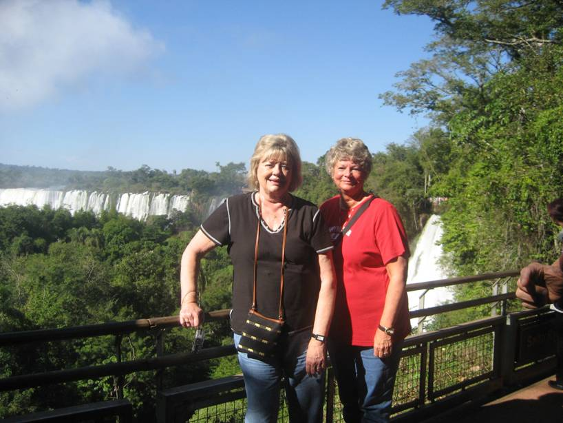 Brenda Moore and Karen Zimbelman of Wichita in front of Iguassau Falls in South America