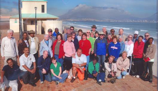 Table Mountain in CapeTown, South Africa with recent group in front